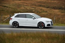 Audi RS3 Sportback road test review for Talk Business Magazine by CHAC car leasing - side