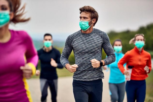 running with masks